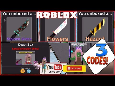 Roblox Murder Simulator Gameplay 3 Codes and 2 Code Glitches INFINITE UNIQUE CRATES and KNIVES