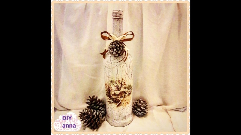 Christmas decoupage vintage bottle DIY shabby chic ideas decorations craft tutorial URADI SAM
