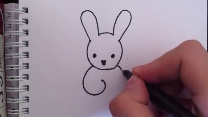 How to draw rabbit/Как нарисовать зайчика
