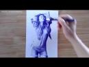 Рисунок девушки шариковой ручкой / Sexy Girl Drawn With Ballpoint Pen