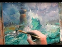 Oil painting Lighthouse and waves