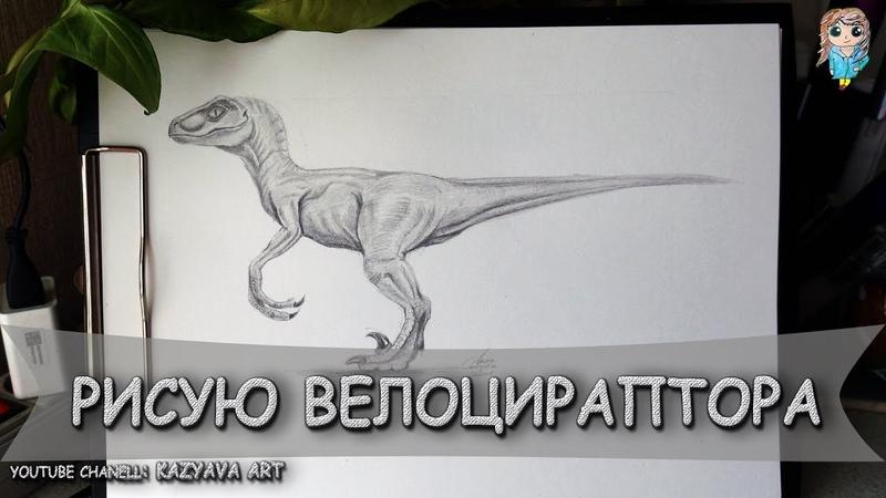 Как нарисовать динозавра Велоцираптор шаг за шагом карандашом Мир Юрского Периода
