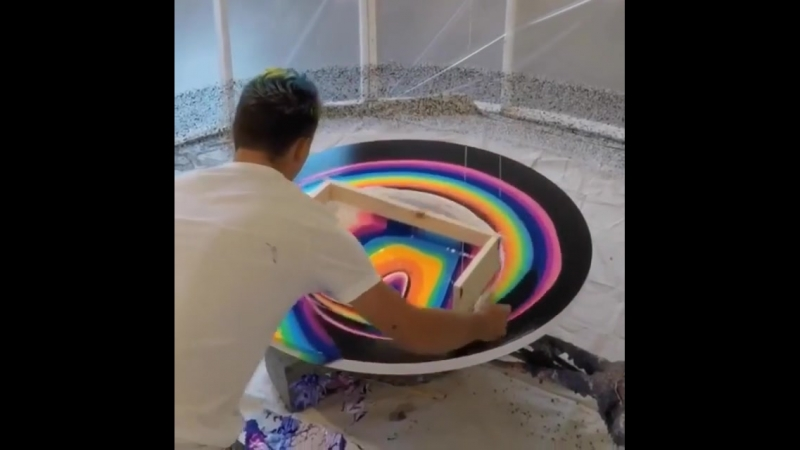 Необычная техника нанесения краски на холст от Callen Schaub Разное@cv kit Фотография@cv kit