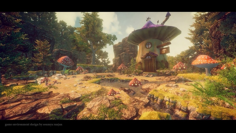 Unity 5 speed level design - fantasy mushroom place | soumya environment design