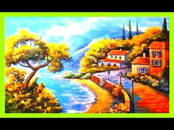 Рисую средиземноморский пейзаж акрилом поэтапно. Полный видеоурок