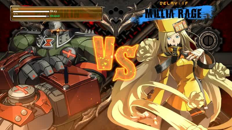 Akanai(Millia) vs Nkey(Potemkin) GuiltyGearXrd11 - Блондинка против Горы