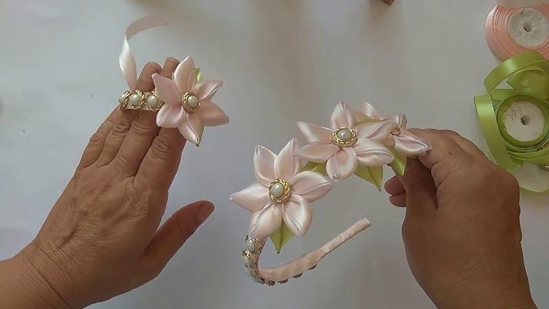 Нежный ободок и браслет на руку из узкой ленты / МК Аллы Шворак