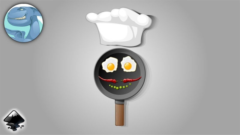 Fried eggs breakfast. Inkscape vector art. Time lapse video.