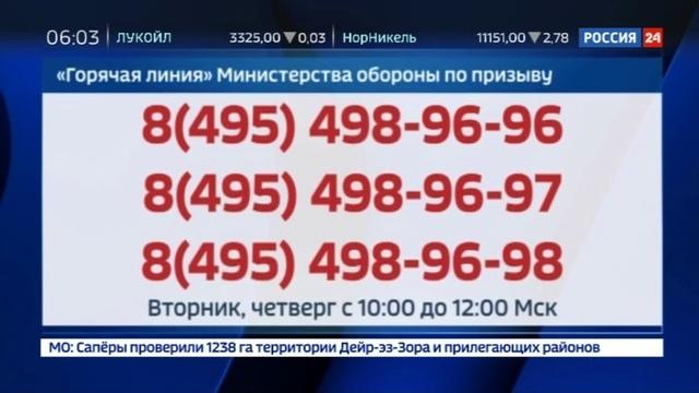 Новости на Россия 24 • Минобороны открыло горячую линию для призывников и их родственников