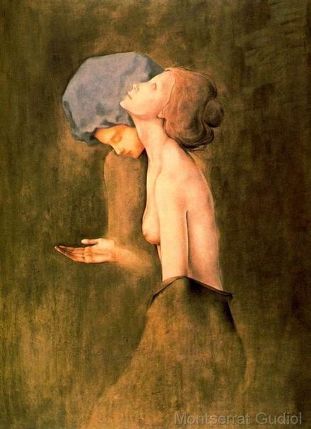 Монтсеррат Гудиоль (1933-2015) - испанская художница. Её работы созданы из фантазий, где цвета и фигуры сливаются в загадочном мире, внутренние переживания полны грусти, преобладают