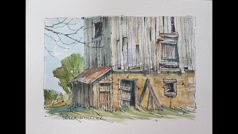 How to paint a weathered barn barnboard and wood Line and wash watercolor Peter Sheeler