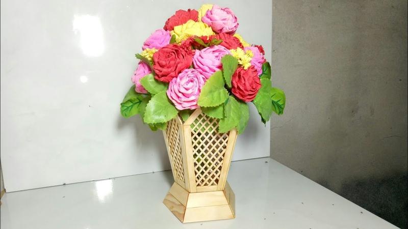 Cách làm bình hoa bằng que kem | DIY flower vase ice cream stick