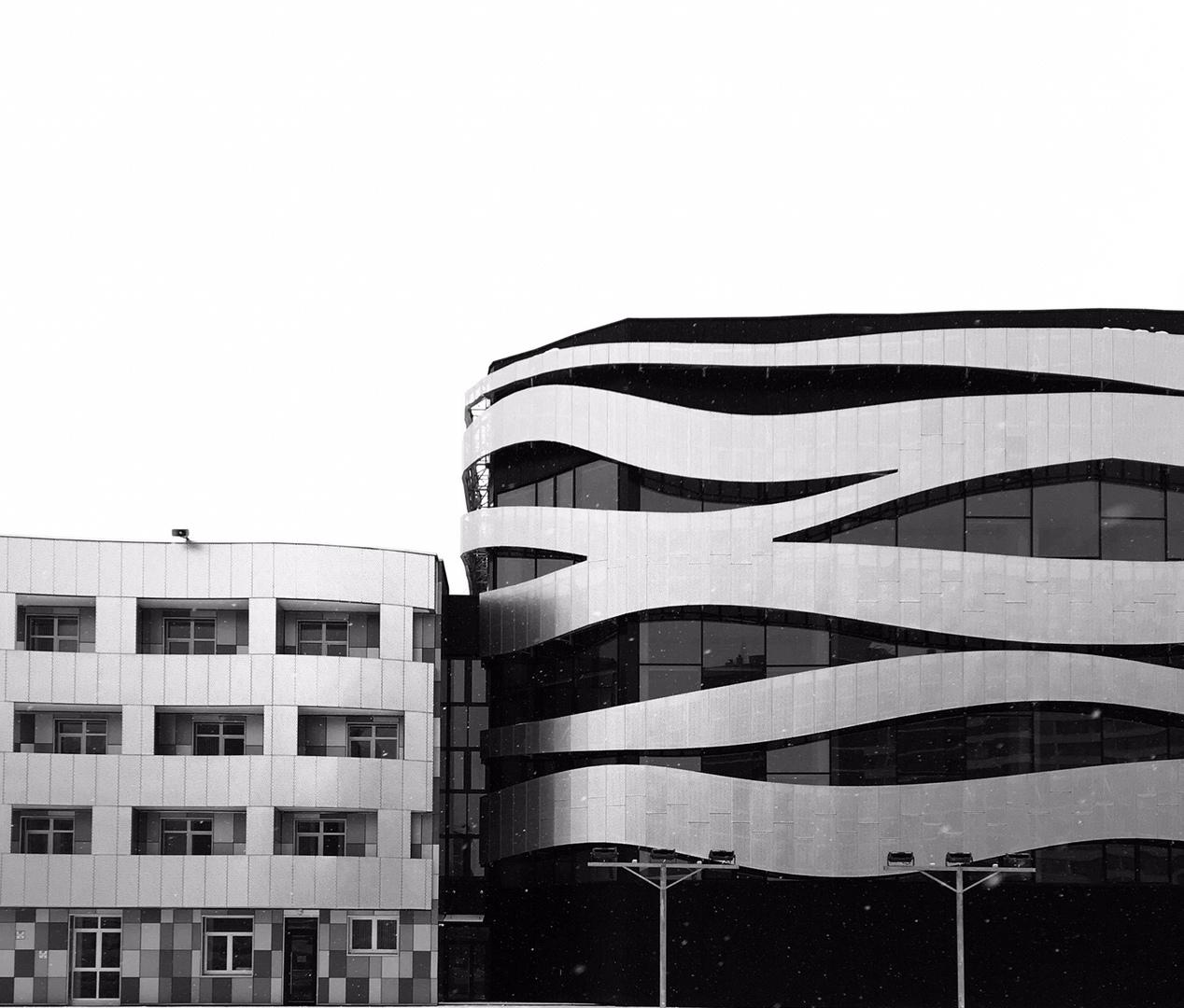 Дворец художественной гимнастики, Минск, монохром