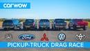 Mercedes X Class vs VW Amarok vs Hilux vs Ranger vs L200 DRAG RACE ROLLING RACE BRAKE TEST