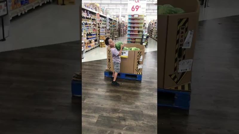 Little boy drops watermelon