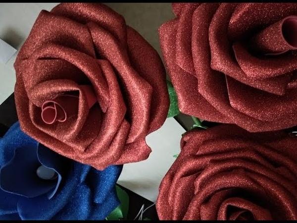 МК ростовая роза из глиттерного фоамирана.1часть.