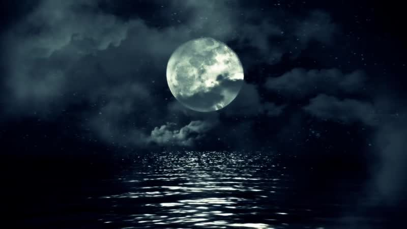Full Moon Above Water with Clouds - Royalty Free Footage