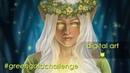 Green Gold Challenge - Glow Digital Elf Painting - by Kat