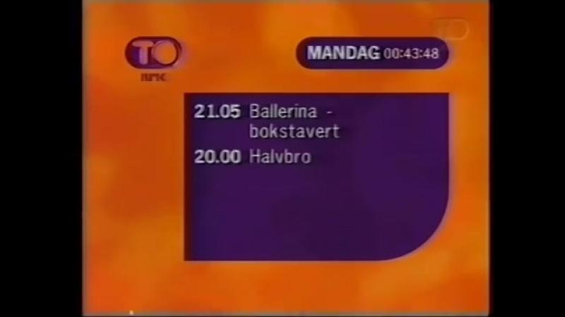 Анонс, программа передач и конец эфира (NRK2 [Норвегия], 26.04.1998)
