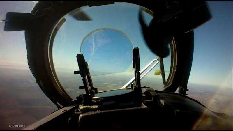 Ликвидация российского беспилотника Орлан-10 украинским ударным вертолетом Ми-24.