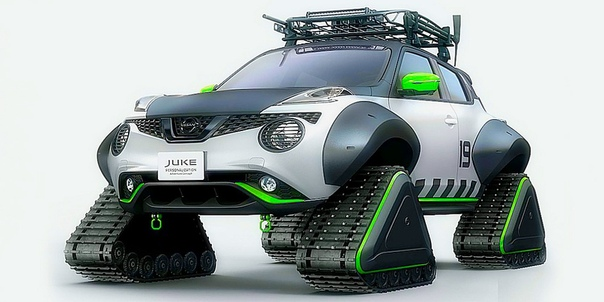 Nissan разработал еще один Jue на гусеничной тяге. Компания Nissan представила новую версию кроссовера Jue с гусеничной тягой, первый прототип которого появился в 2015 году. Премьера новинки