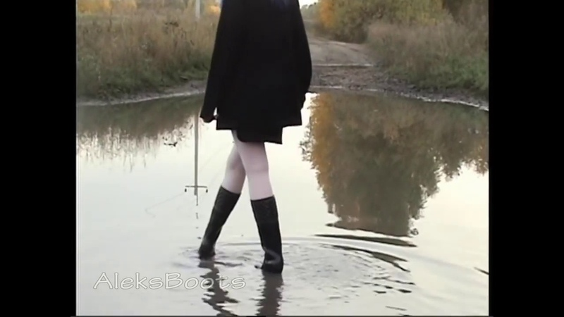 Black rubber boots in the mud. Part-1(151018)
