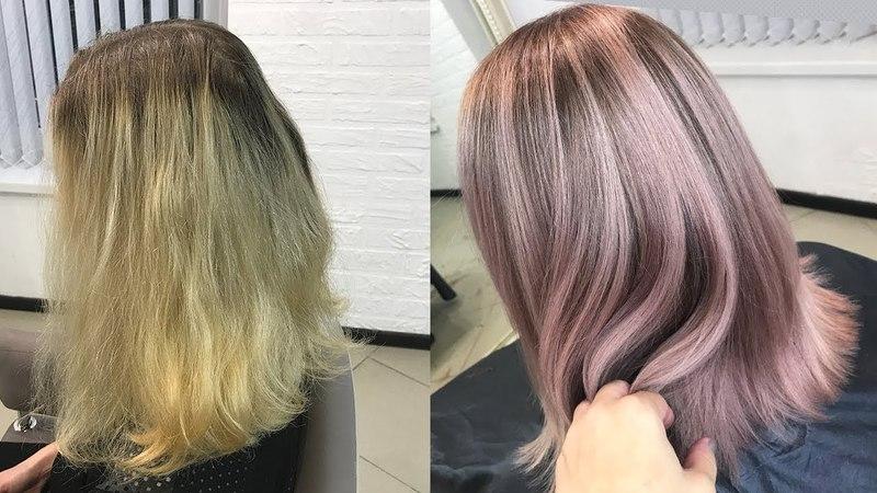 Окрашивание волос в пастельный розовый цвет. Растяжка цвета. Pastel Pink Hair Color. Pink Ombre.