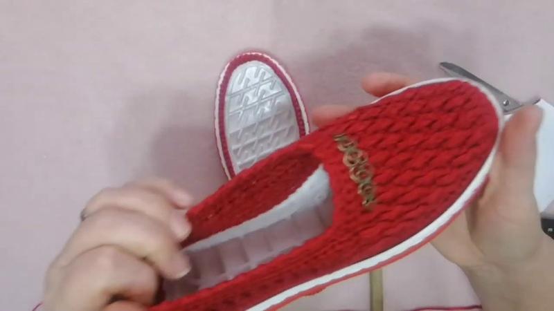 Pantofi rosii crosetati partea 1