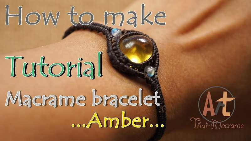Tutorial how to make a macrame knot bracelet waxed cord with amber