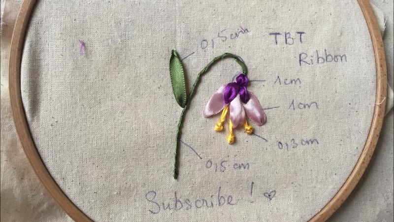 D.I.Y Ribbon Embroidery mini flower / Hươnga dẫn thêu ruy băng hoa chuông đơn giản