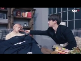 Wonho was laughing at how Shownu woke up from his nap just from the smell of a sausage - - meanwhile deep sleeping Hyungwon - WH