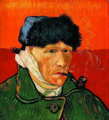 Ван Гог сутками рисовал, ведрами пил абсент, отрезал себе левое ухо и написал автопортрет(картинка справа) в таком виде, а в возрасте 37 лет покончил жизнь самоубийством.