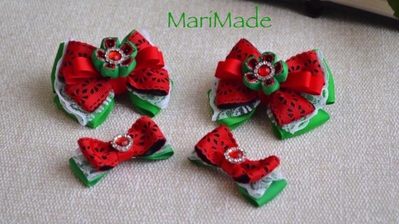 Канзаши Арбузики Резинки Заколки Kanzashi Watermelon Hair Clips Bows