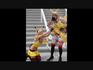 Japan Donation! SEXY PIKACHU DOUBLE TIME #video #LOL #cosplay #PIKACHU!!! #miniskirt #stockings #boobs #JessicaNigri #bespectacl