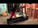 Stevo shadow wrestling on the treadmill.