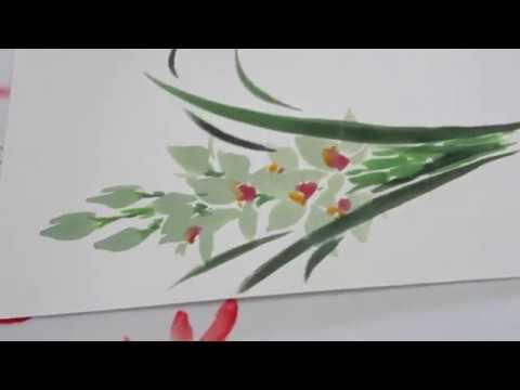 「ほのぼの一筆画」シンビジューム 欄 描き方・水彩画Cymbidium column How to draw watercolor paint