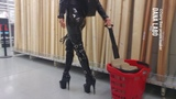 DANA LABO boots my passion - shopping day_walking in public (pvc, vinyl, latex fashion)