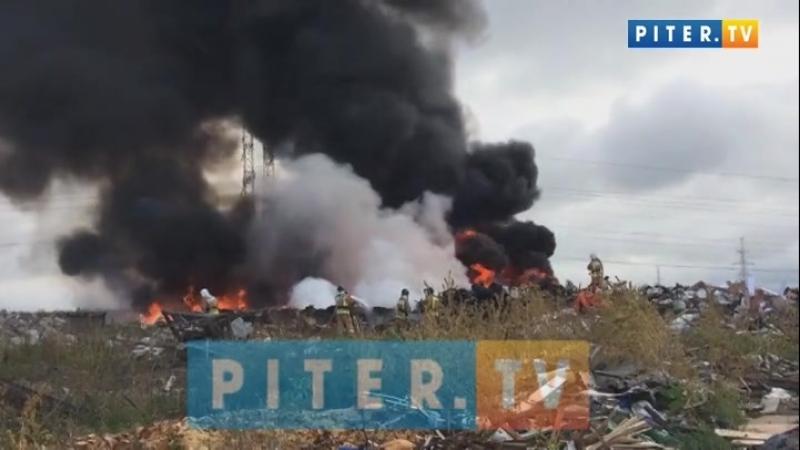 На проспекте вчера Большевиков загорелась огромная куча мусора