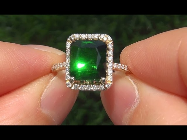 Certified Jewelry VVS Natural Green Tourmaline Diamond 14k Yellow Gold Vintage Ring - A141720
