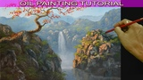 Oil Landscape Painting Tutorial Autumn Red Tree on Top of Rocky Cliff with Waterfall by JM Lisondra
