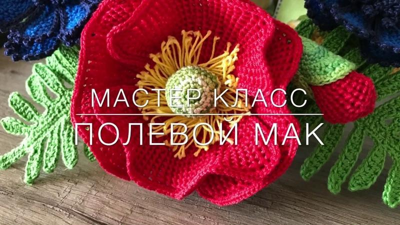 😍 мастер класс 😍 полевой 🌺 мак тунисское вязание Crochet flower pattern