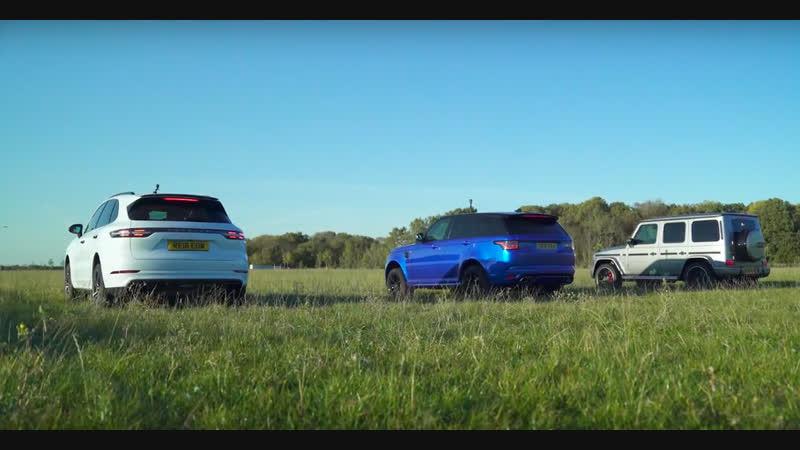 Mercedes-AMG G63 против Porsche Cayenne Turbo и Range Rover SVR