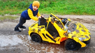 Tisha was stuck in the swamp. Brother washes a car.