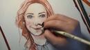 Рисую стилизованный портрет. Watercolor sketch Девочка с косичками