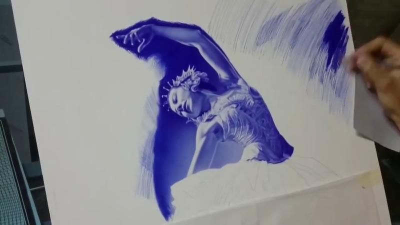 Рисунок балерины шариковой ручкой