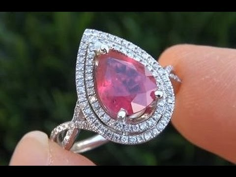 GIA Certified Unheated - Untreated Pigeon Blood Red Burma Ruby Diamond Ring Solid Gold