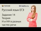 Русский язык ЕГЭ 2019. Задание 14. Теория. Н и НН в разных частях речи