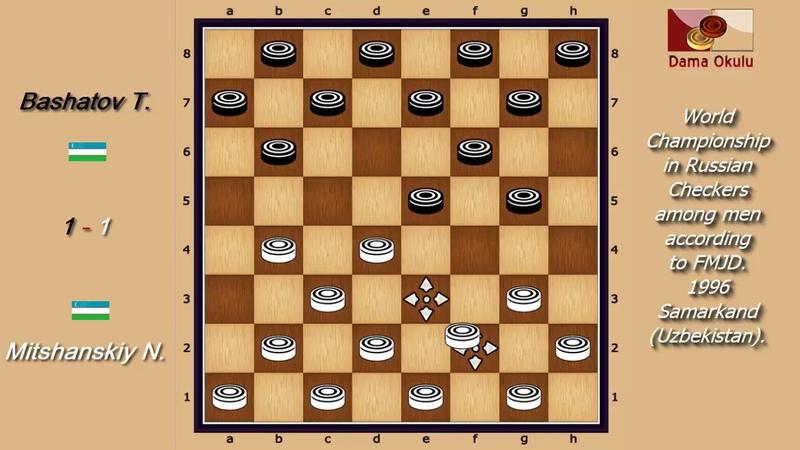 Bashatov T. (UZB) - Mitshanskiy N. (UZB). World_Russian Checkers_Men-1996.
