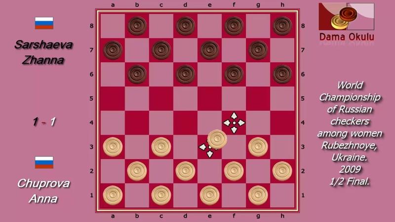 Sarshaeva Zhanna (RUS) - Chuprova Anna (RUS). World Draughts-64_women. Semifinal.