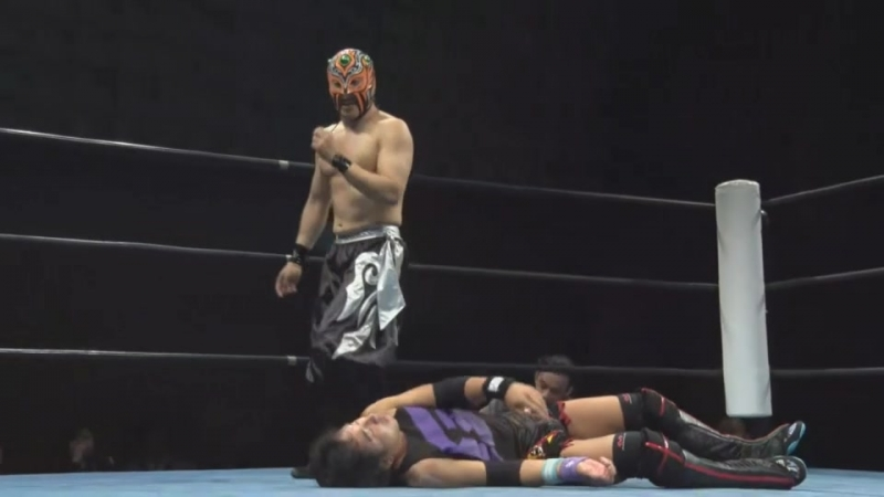 Takeshi Okada, Black Ribera vs. Ken Oka, Yukihiro Abe (Ganbare Wrestling - I Have Never Seen 2018)